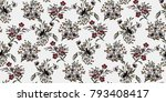 seamless floral pattern in... | Shutterstock .eps vector #793408417