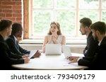 friendly female boss holding...   Shutterstock . vector #793409179