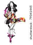 fashion model. sketch. vector... | Shutterstock .eps vector #79341445