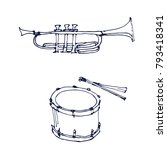trumpet and drum music...   Shutterstock .eps vector #793418341