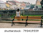 the girl admires the city. back ... | Shutterstock . vector #793419559