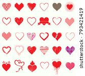 mega set of heart icons  day... | Shutterstock .eps vector #793421419