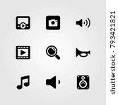 multimedia vector icons set....   Shutterstock .eps vector #793421821