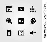 multimedia vector icons set.... | Shutterstock .eps vector #793421914