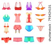 underwear icons set color.... | Shutterstock .eps vector #793424131