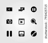 buttons vector icons set. movie ... | Shutterstock .eps vector #793425715