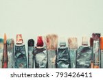 Row Of Artist Paintbrushes And...