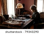 young author in a grandpa's room | Shutterstock . vector #79343290