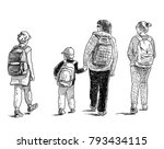woman with her kids go to school | Shutterstock . vector #793434115