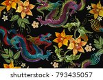 embroidery asian dragon and... | Shutterstock .eps vector #793435057