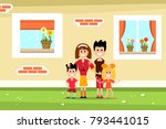 family with family house wall... | Shutterstock .eps vector #793441015