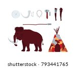 set of elements denote stone... | Shutterstock .eps vector #793441765