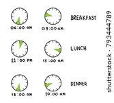 clock  meal time. breakfast ... | Shutterstock .eps vector #793444789