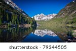 Panorama of Marron Bells Peaks Near Aspen, Colorado - High Dynamic Range, Wide Aspect 16:9 Image with Perfect Reflection  in Lake - stock photo