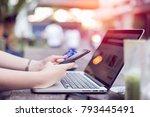 young asian woman making... | Shutterstock . vector #793445491