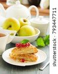 delicious homemade apple pie.... | Shutterstock . vector #793447711