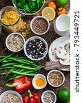 vegetarian food set of products ... | Shutterstock . vector #793449721