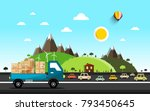 cars on the road. vector... | Shutterstock .eps vector #793450645