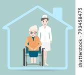 elderly woman sitting on... | Shutterstock .eps vector #793458475