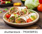burritos wraps with beef and... | Shutterstock . vector #793458931