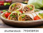 burritos wraps with beef and... | Shutterstock . vector #793458934
