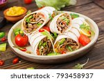 burritos wraps with beef and... | Shutterstock . vector #793458937