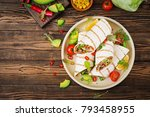 burritos wraps with beef and...   Shutterstock . vector #793458955