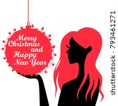 silhouette of a girl. christmas.... | Shutterstock .eps vector #793461271