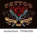 guns and roses tattoo design.... | Shutterstock .eps vector #793463281