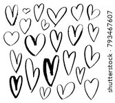 hand drown hearts set for... | Shutterstock . vector #793467607
