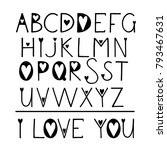 latin handwritten alphabet with ... | Shutterstock . vector #793467631