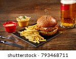 tasty burger  french fries with ... | Shutterstock . vector #793468711