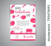 valentines day card with flying ... | Shutterstock .eps vector #793470091