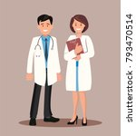 doctor and nurse. vector... | Shutterstock .eps vector #793470514