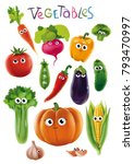 funny vegetables with eyes | Shutterstock . vector #793470997