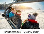 skiers and snowboarders on ski... | Shutterstock . vector #793471084