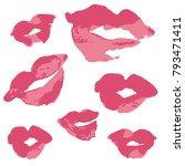 vector watercolor style... | Shutterstock .eps vector #793471411