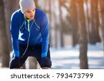 tired sportsman on break from... | Shutterstock . vector #793473799