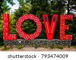 Small photo of Lynchburg, VA - Aug 13 2017: Various declarations of love are abound at this park along the James River.