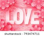 3d abstract paper cut... | Shutterstock .eps vector #793474711