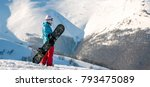 snowboarder girl standing with... | Shutterstock . vector #793475089