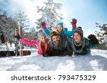 young smiling family having fun ... | Shutterstock . vector #793475329