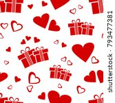 seamless pattern with red gift...   Shutterstock .eps vector #793477381