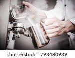 italian barista milk steaming... | Shutterstock . vector #793480939