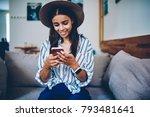 cheerful stylish blogger in... | Shutterstock . vector #793481641