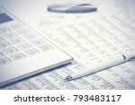 financial accounting pen and... | Shutterstock . vector #793483117