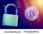 bitcoin with padlock on... | Shutterstock . vector #793483954