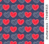 hearts seamless pattern in cool ... | Shutterstock .eps vector #793489315