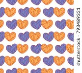 hearts seamless pattern in blue ... | Shutterstock .eps vector #793489321