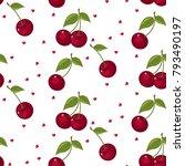 cute cherry seamless pattern.... | Shutterstock .eps vector #793490197